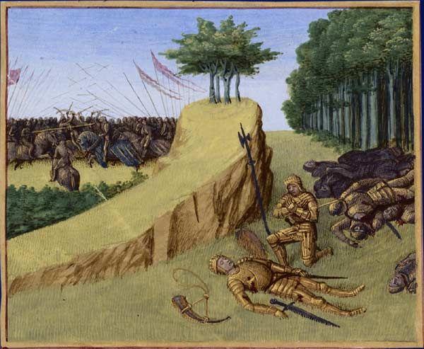 La mort de Roland - Grandes Chroniques de France enluminées par Jean Fouquet - Tours vers 1455-1460