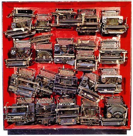 Arman, 1962, INFINITY OF TYPEWRITERS INFINITY OF MONKEYS INFINITY OF TIME = HAMLET