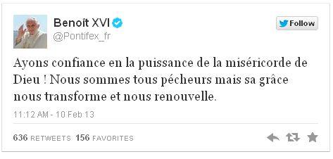 Dernier tweet du pape Benoît XVI