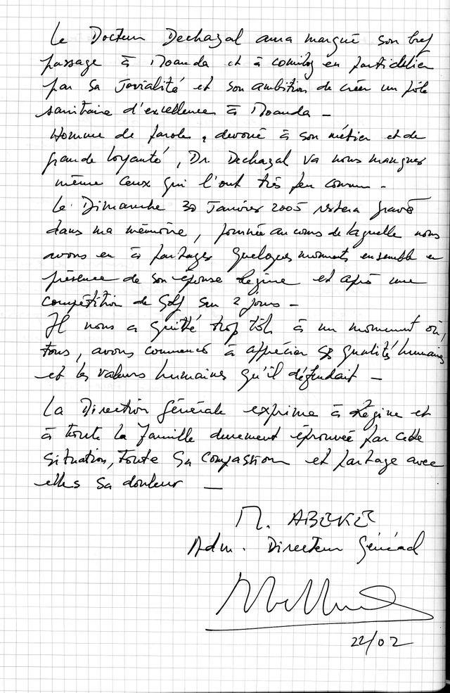 Enquête Gabon - lettre Abéké