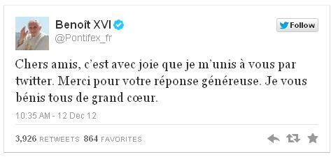 Premier tweet du pape Benoît XVI