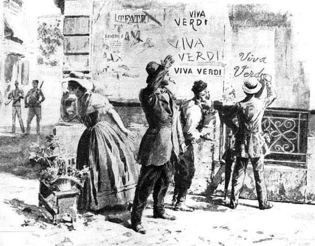 Dessin politique montrant des patriotes Italiens protestant contre l'interdiction d'un opéra de Verdi à Naples en 1859