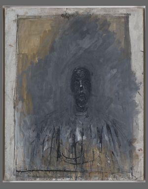 Tête noire, vers 1957-1959 Huile sur toile, 81,4 x 65 cm Collection Fondation Giacometti