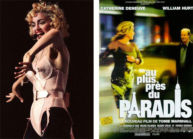 Madonna en corset Jean Paul Gaultier @Jerry Lampen / Reuters et Catherine Deneuve sur l'affiche d'Au plus près du paradis