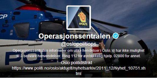 Le compte Twitter du centre des opérations de la police d'Oslo