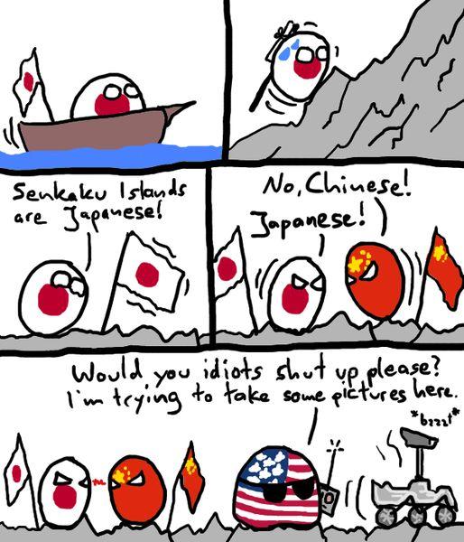 Un groupe d'activistes japonais et chinois dans la dispute des îles Senkaku, déssin humoristique, 19 August 2012