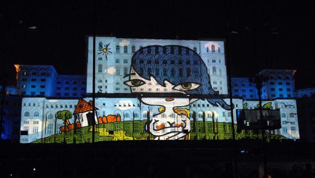 Art digital sur la casa popolurui, le Palais du Parlement roumain (Bucarest)