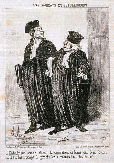 """Avocats et Plaideurs : """"Enfin, nous avons obtenu la séparation des biens !"""" - Gravure d'Honoré Daumier - 1851"""