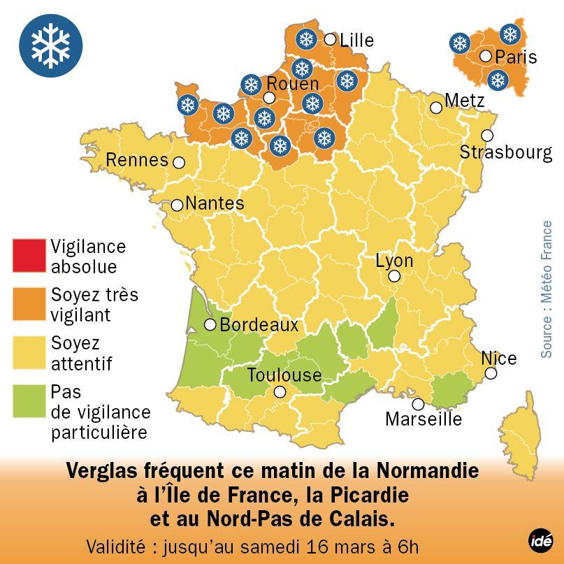 Alerte Météo France Neige Verglas - Vendredi 15 mars - 6h