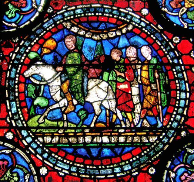 Pèlerins sur un vitrail de la cathédrale de Canterbury - XIIIe siècle