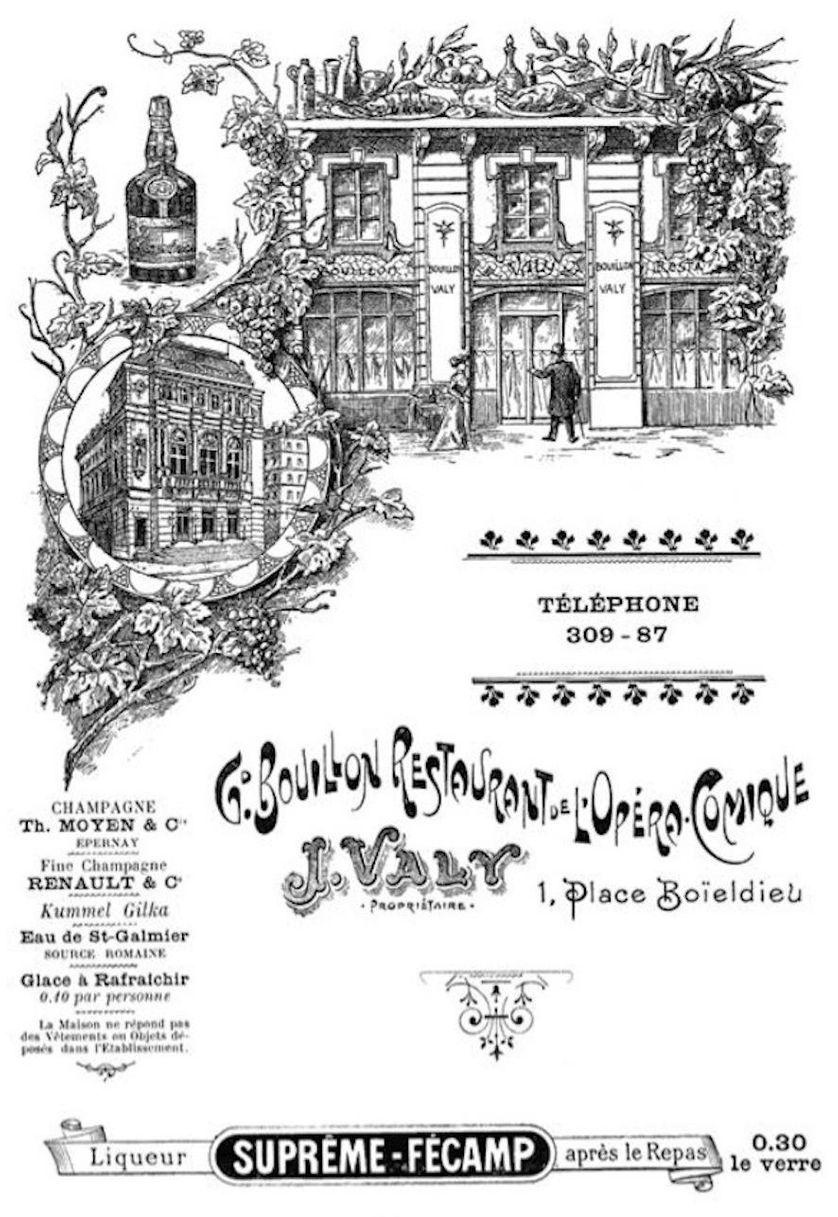 Menu du restaurant de l'Opéra comique (1904 )