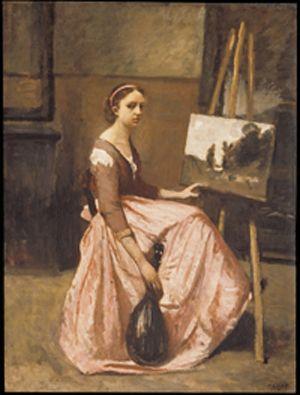 L'Atelier de Corot (Jeune femme en robe rose, assise devant un chevalet et tenant une mandoline)