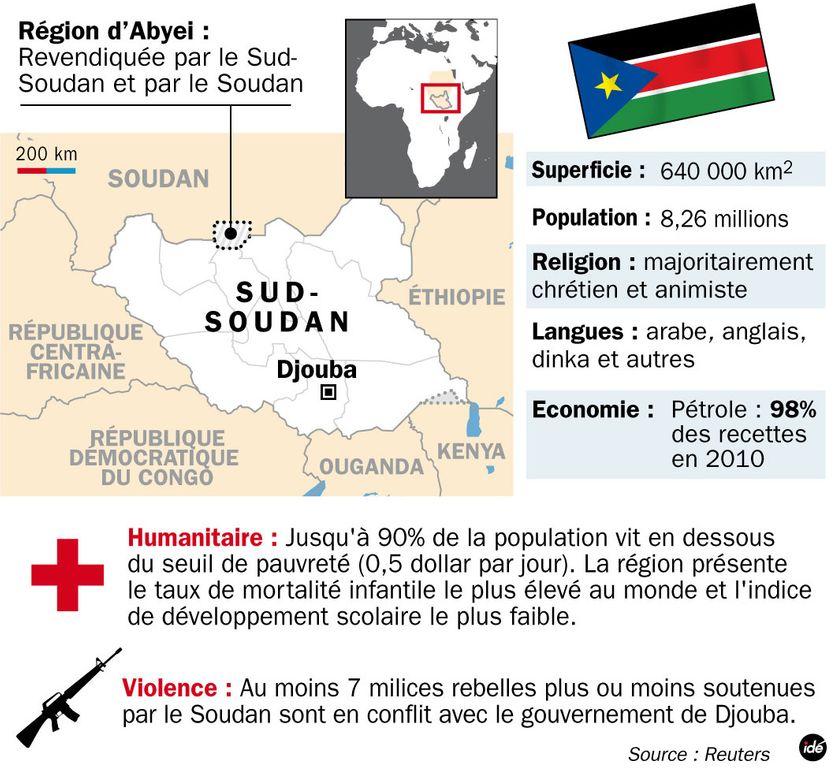 Sud-Soudan : carte et chiffres-clés Carte établie en juillet 2011