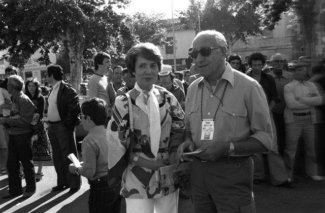 Jacqueline Baudrier et Goddet sur le Tour en 1977