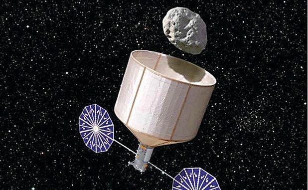 Illustration montrain la capture d'un astéroïde de 7 mètres et 500 tonnes. Image: Rick Sternbach / KISS