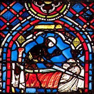 Détail du vitrail de la cathédrale de Rouen relatant la Légende de Saint-Julien