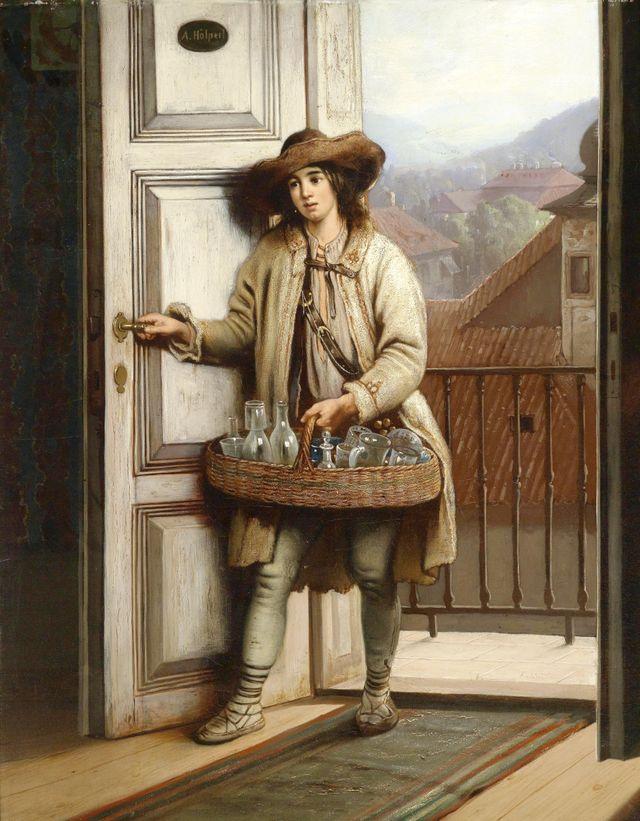 """""""Le vendeur de verre slovaque"""" par Antonin Hölperl - vers 1888"""
