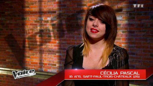 Cécilia Pascal de Saint Paul Trois Châteaux  lors de l'émission The Voice sur TF1