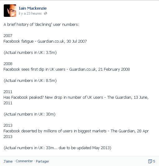 Capture d'écran de la page Facebook de Iain Mackenzie