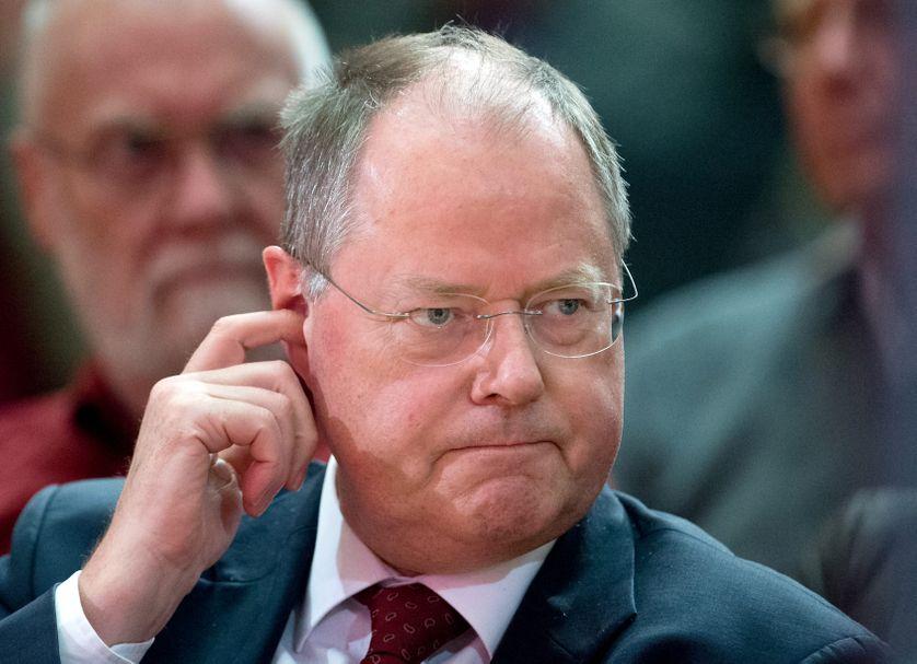 Peer Steinbrück, du Parti social-démocrate d'Allemagne (SPD), le 8 avril 2013 à Francfort
