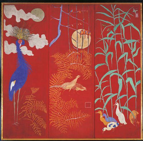 Paravent à trois feuilles avec grue, faisans et oiseaux, canards et papillons, 1889 - Pierre