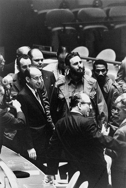 Fidel Castro, président de Cuba à l'Assemblée générale des Nations Unies le 22 septembre 1960