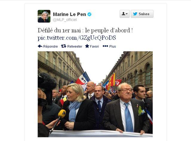 Marine Le Pen défile