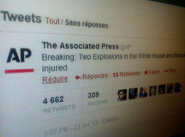 Un faux tweet d'AP avait fait chuter le Dow Jones