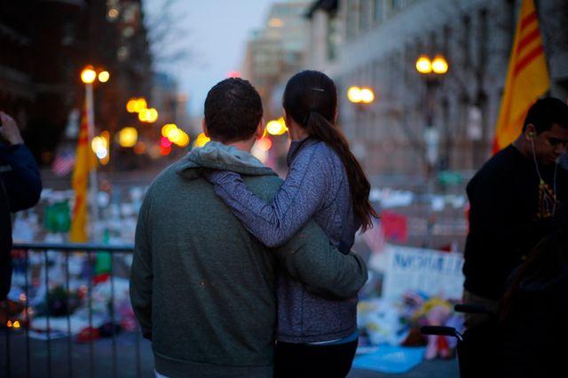 Boylston Street, mémorial aux victimes de l'attentat du Marathon de Boston