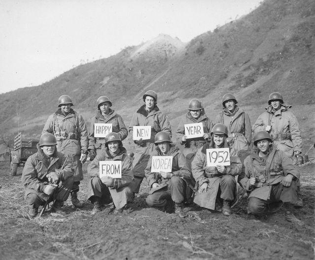 Soldats d'un régiment d'infanterie du Missouri lors de la guerre de Corée
