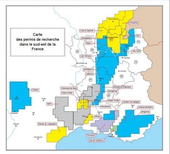 Carte des permis de recherche dans le sud est de la France