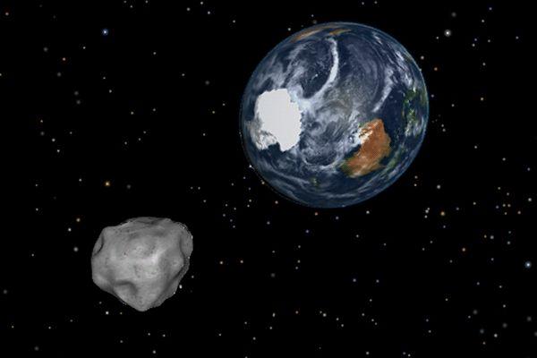 Simulation de l'approche de l'astéroïde 2012 DA14 qui est passé près de la Terre le 15 février 2013.