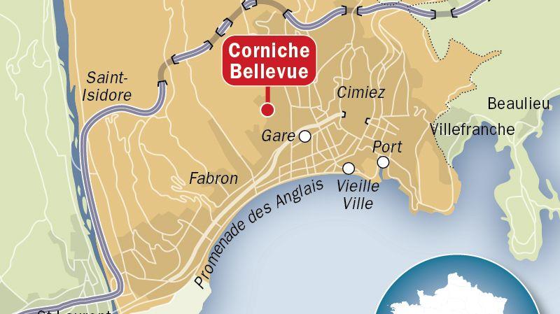 Plan de situation de la corniche Bellevue, à Nice