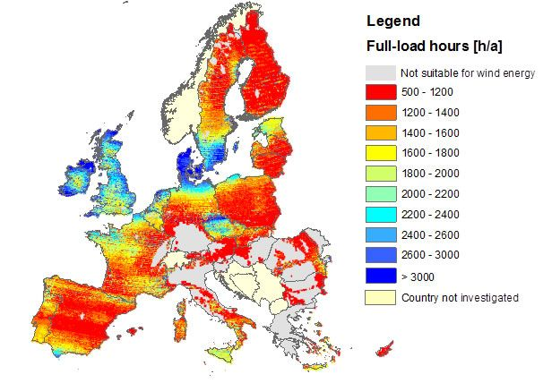 Annual full-load hours for onshore wind energy in the EU