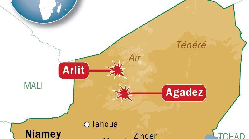 Carte de localisation d'Arlit et Agadez (Niger)