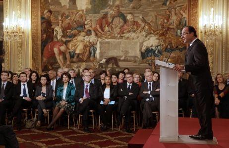 François Hollande devant 400 journalistes lors de la première conférence de presse