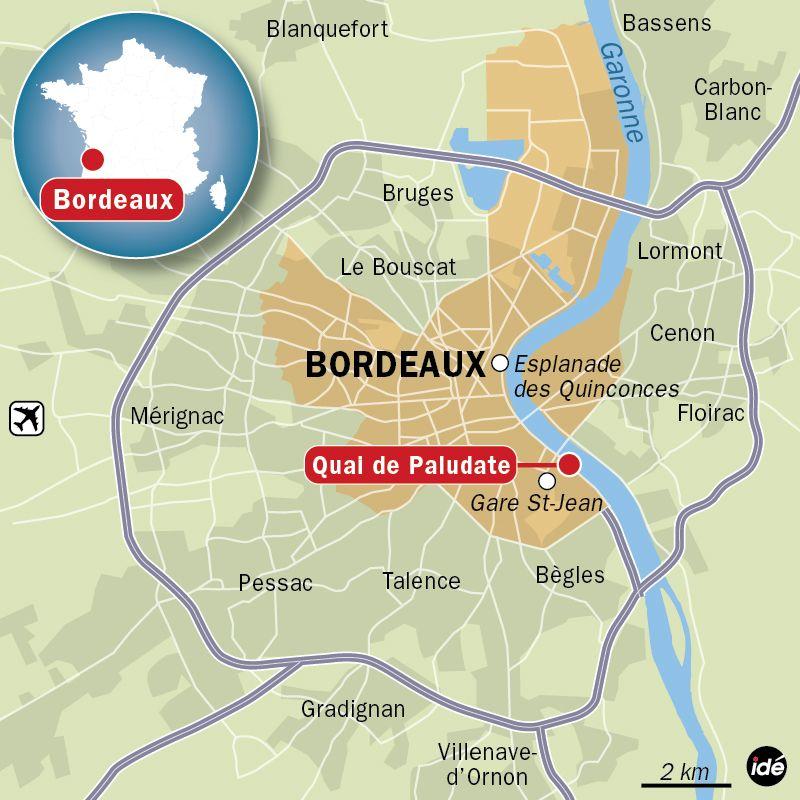 Carte de situation du quai de Paludate (Bordeaux)