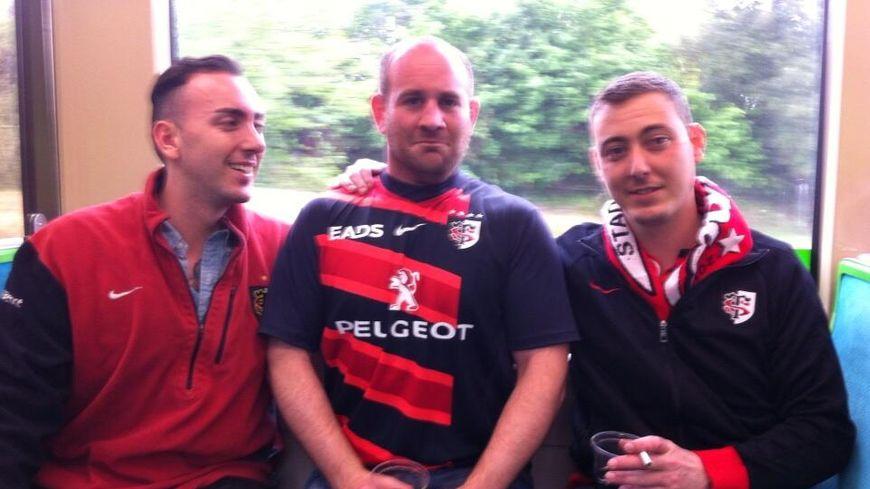 Trois supporters du Stade Toulousain rencontrés dans le tram de Nantes