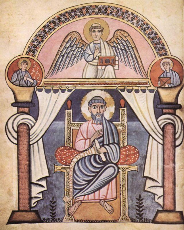 Portrait de saint Matthieu par le Maître de l'école de Canterbury - Codex Aureus de Cantorbury - VIIIè siècle