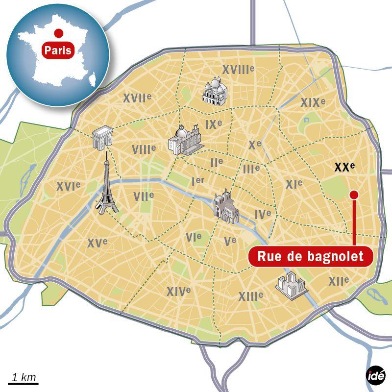 Carte de localisation de la rue de Bagnolet (Paris)