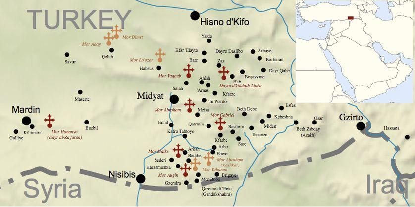 """Carte de la région de Mardin (sud-est de la Turquie), appelée aussi """"Tur Abdin"""" chez les Syriaques"""