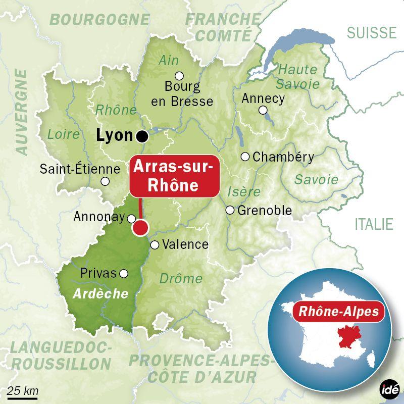 Carte de localisation d'Arras-sur-Rhône (Ardèche)