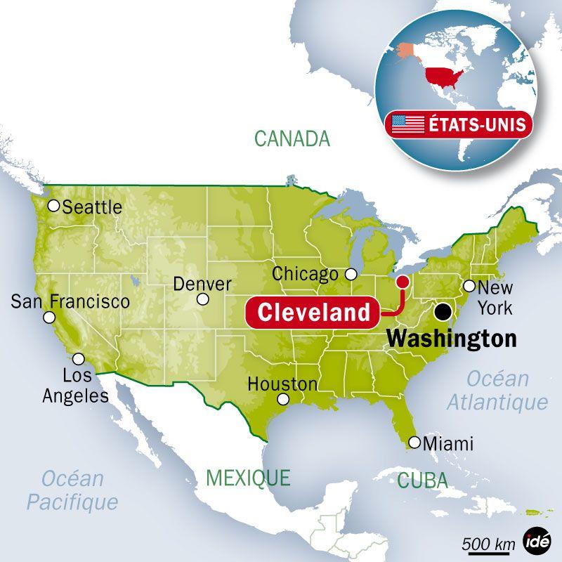 Carte de localisation de Cleveland (Etats-Unis)
