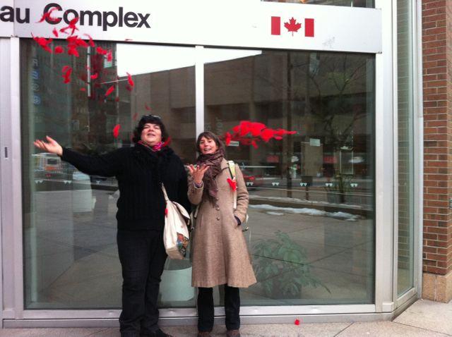 Melissa Mollen Dupuis , du mouvement Idle No More et  Doris Farget, chercheuse de l'Université McGill  de Montréal.