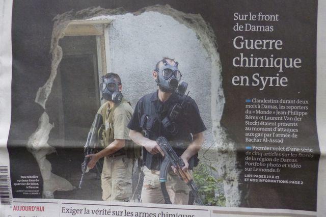 Des rebelles syriens dans le quartier de Jobar, Damas, 2013