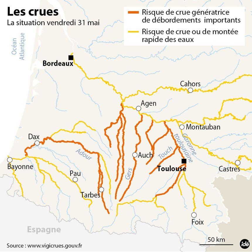 Crues en Gascogne : la situation vendredi 31 mai