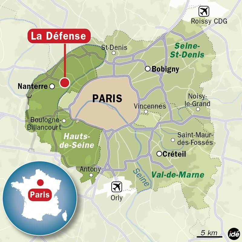 Carte de localisation de La Défense (Hauts-de-Seine)