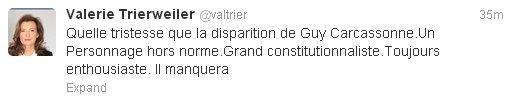 Copie d'écran du compte Twitter de Valérie Trierweiller