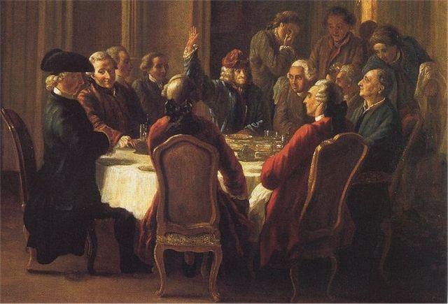 Le dîner des philosophes, de Jean Huber (1772)