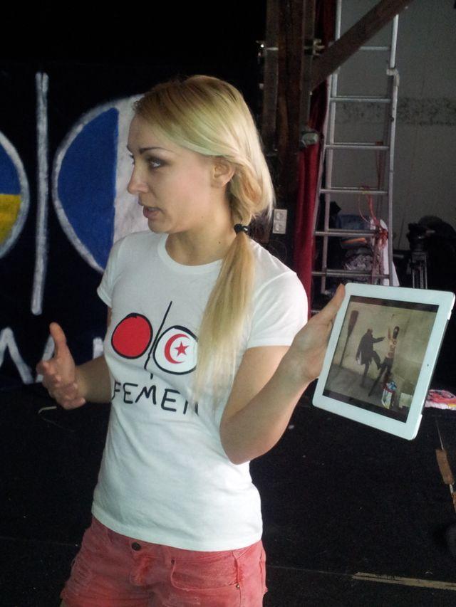 Inna Chevtchenko, l'une de trois fondatrices ukrainiennes des Femen, responsable de la branche France